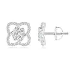 Pressure-Set Diamond Cluster Clover Stud Earrings
