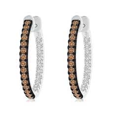 Coffee and White Diamond Inside-Out Hoop Earrings