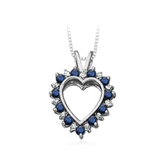 Sapphire and Diamond Heart Pendant in White Gold