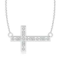 Prong and Channel Set Diamond Sideways Cross Necklace