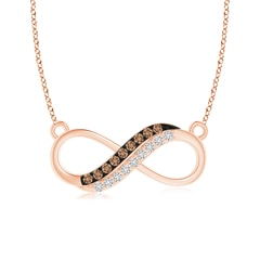 Twin-Row Coffee and White Diamond Infinity Swirl Necklace