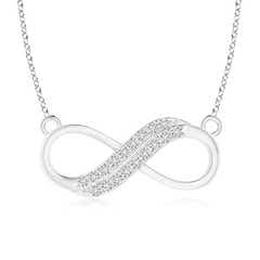 Twin-Row Diamond Sideways Infinity Swirl Necklace
