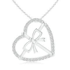 Tilted Diamond Bow Tie Heart Pendant
