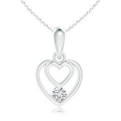 Solitaire Diamond Concentric Heart Dangle Pendant