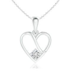 Solitaire Round Diamond Ribbon Heart Dangle Pendant