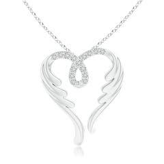 Round Diamond Angel Heart Pendant