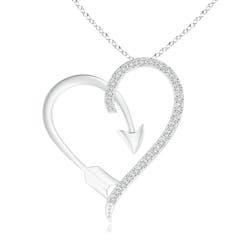 Round Diamond Heart Arrow Pendant Necklace