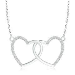 Interlocking Diamond Twin Heart Necklace Pendant
