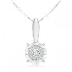 Miracle-Plated Round Diamond Starburst Pendant