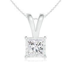 Miracle Solitaire Princess-Cut Diamond V-Bale Pendant