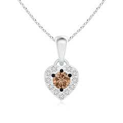 Coffee and White Diamond Heart Halo Pendant