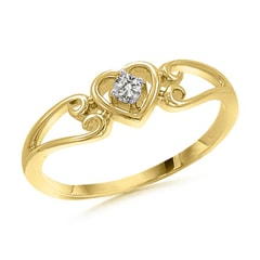 Split Shank Heart Shaped Diamond Ring In 10K Yellow Gold