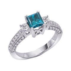 Three Stone Enhanced Blue and White Diamond Ring
