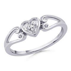 Split Shank Heart Shaped Diamond Ring In 10K White Gold