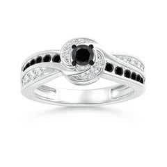 Swirl Shank White & Enhanced Black Diamond Ring