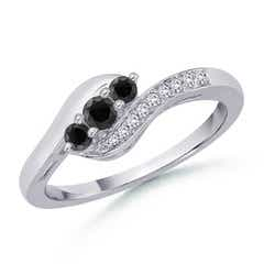 Enhanced Black Diamond Three Stone Ring with Diamond Accent