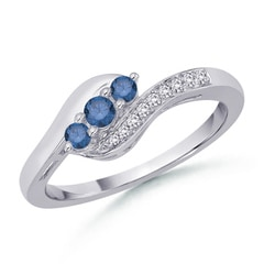 Enhanced Blue Diamond Three Stone Bypass Ring