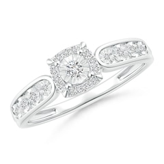 Miracle Solitaire Diamond Cushion Halo Loop Ring