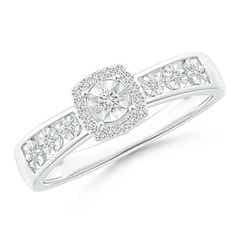 Miracle Solitaire Diamond Cushion Halo Tapered Ring