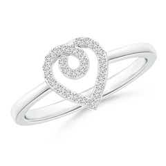 Round Diamond Ribbon Heart Promise Ring