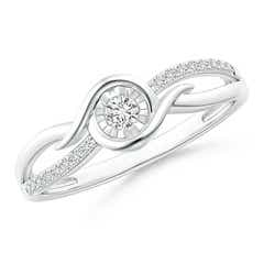Miracle Solitaire Diamond Crossover Split Shank Ring