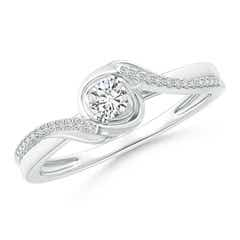 Solitaire Round Diamond Fluted Bypass Ring