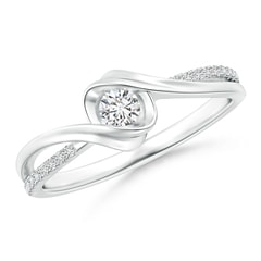 Round Solitaire Diamond Split Bypass Ring