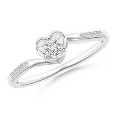 Angara Round Diamond Cluster Heart Bypass Ring