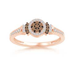 Angara White and Brown Diamond Cluster Swirl Ring - Angaras Coffee Diamond RazRgf2h