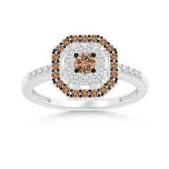 Coffee and White Diamond Octagon Halo Ring