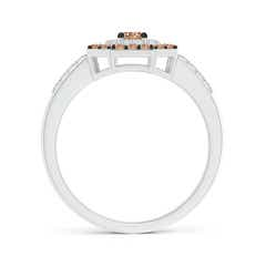 Toggle Coffee and White Diamond Octagon Halo Ring