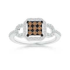 Composite Coffee and White Diamond Octagon Halo Ring