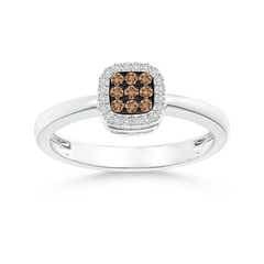 Composite Coffee and White Diamond Cushion Halo Ring