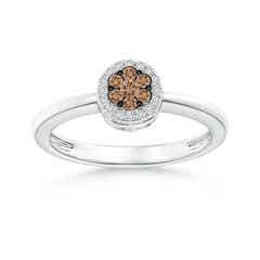Pressure Set Coffee and White Diamond Cluster Halo Ring