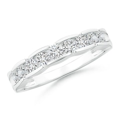 Angara Twin-Row Diamond Criss-Cross Eternity Wedding Band bKjYNQhbH