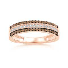 Coffee and White Diamond Multi-Row Half Eternity Band