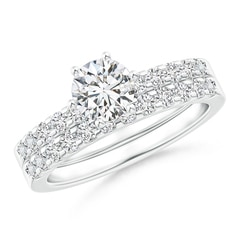 Six-Prong Set Round Diamond Solitaire Bridal Ring Set