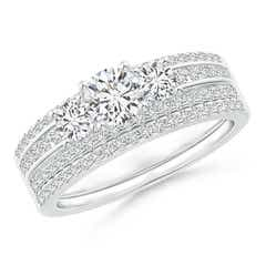 Triple-Row Diamond Classic Three Stone Bridal Ring Set