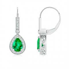 Vintage Style Emerald Drop Earrings with Diamond Halo