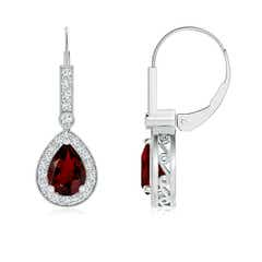 Vintage Style Garnet Drop Earrings with Diamond Halo