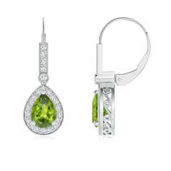 Vintage Style Peridot Drop Earrings with Diamond Halo
