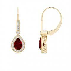 Vintage Style Ruby Drop Earrings with Diamond Halo