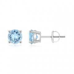 Basket-Set Round Aquamarine Studs
