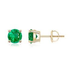 Basket Set Round Emerald Stud Earrings