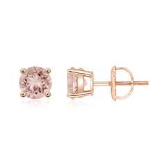 Basket-Set Round Morganite Studs