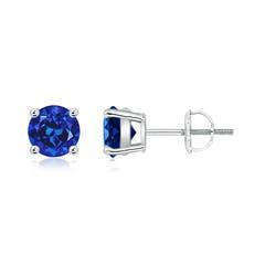 Basket Set Round Lab Created Blue Sapphire Stud Earrings