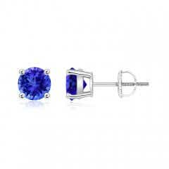 Angara Bezel-Set Cushion Tanzanite Solitaire Earrings
