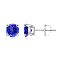 Basket-Set Round Tanzanite Studs