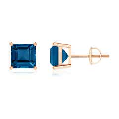 Angara Emerald and Diamond Stud Earrings in White Gold