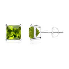 Classic Basket-Set Square Peridot Stud Earrings